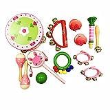 PAMRAY Musikinstrumente Set Kinder Percussion Spielzeuge Hölz Mädchen Mini Schlagzeug Schlagwerk Bunt Maracas Tambourin Rassel Rhythmus...