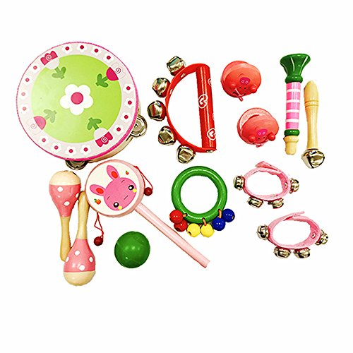 PAMRAY Musikinstrumente Set Kinder Percussion Spielzeuge Hölz Mädchen Mini Schlagzeug Schlagwerk Bunt Maracas Tambourin Rassel Rhythmus Early Education Rosa