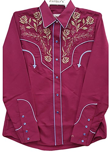 Modestone Women's Embroidered Long Sleeved Fitted Western Camicia Cowboy Floral Purple XL
