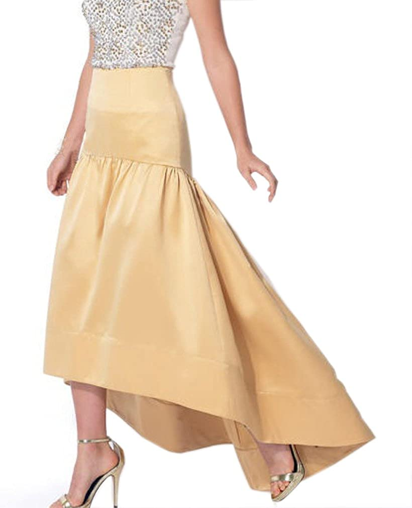 Lisong Women Floor Length Satin High Low Taffeta Prom Party Skirt