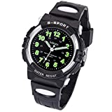 Kids Watch, Child Quartz Wristwatch with for Boys Kids Waterproof Time Teach Watches Rubber Band Analog Quartz Children Sport Outdoor Wrist Watches (Most Black)