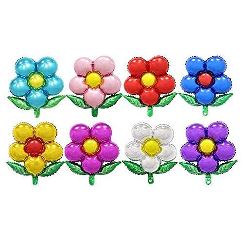 TRIXES 8er Pack Blumen Folien-Luftballons Bunte Blumenballons für Feste Feiern Geburtstage und Partys