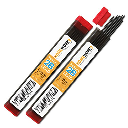2mm Lead Refill, 2B, 12 Black Pencil Leads for Compass or Mechanical Pencil – Pack of 2