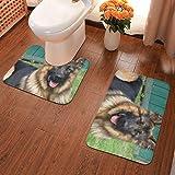 Badezimmerteppich-Set, 2-teilig, Hunde-/Schaf-/Maulkorb, Badematte, U-förmig, WC-Vorleger,...