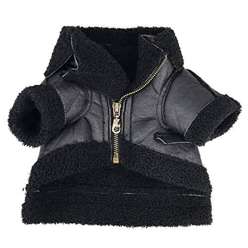 Yunnyp Hund Winter Lederjacke Kleidung Punk Welpe Winter Weichen Warmen Mantel Haustier Kostüm
