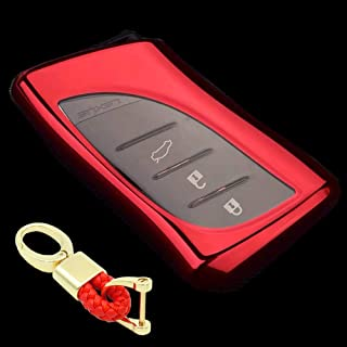 Royalfox(TM) 3 4 Buttons Soft TPU Smart keyless Remote Key Fob case Cover Shell Keychain for 2018 2019 2020 Lexus UX200 LS...