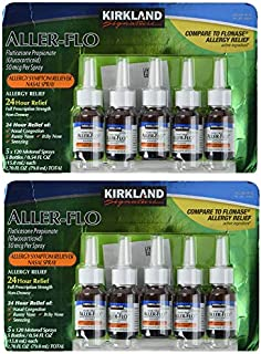 Kirkland Signature frd Aller-Flo Fluticasone Propionate (Glucorticoid) 5 Bottles x 120 Metered Sprays (15.84 mL x 5) 2.70 OZ Total (79.0 mL Total) Total 600 Sprays, 2 Pack