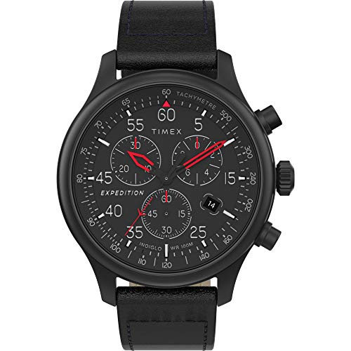 Timex Men's TW2T73000 Expedition Field Chronograph Blackout Leather Strap Watch