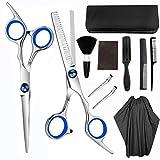 Jsdoin Juego de 11 tijeras de peluquería profesionales para cortar pelo, tijeras de acero inoxidable, tijeras de adelgazamiento, peine de pelo, maquinilla de afeitar, clips, peluquería y salón