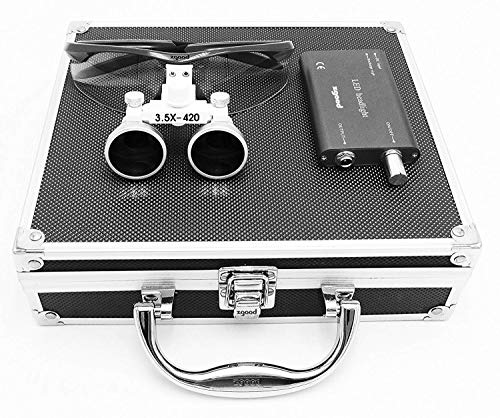 Aries Outlets 3.5x 420mm Working Distance Surgical Binocular Loupes Optical Glass with LED Head Light Lamp+Aluminum Box Black