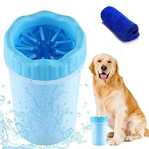 Limpiador de Patas de Perro,Limpiador De Huellas para Perros Portatil Cepillo de Limpieza para Mascotas,Limpieza Patas Perro Gato Limpiador Lavado De Pies Copa con Toalla 10*8.5*15CM (L, Azul)