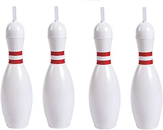 Pack of 4 Bowling Pin Sports Sipper Straw Bottles - Large 22 Oz.