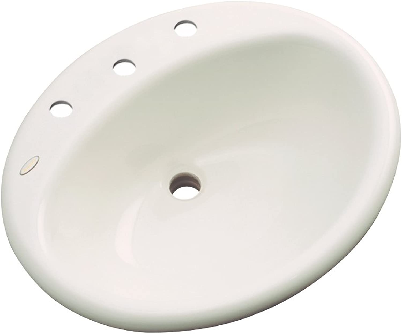 Dekor Sinks 87802 Caribou Cast Acrylic Self Rimming 3 Hole Bathroom Sink, Almond