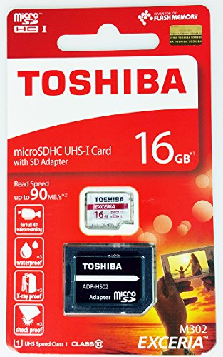 Toshiba Exceria M302 16GB Micro SDXC Memory Card 90 MB/s 4K with...
