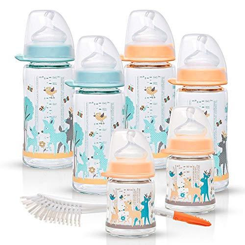 NIP Weithalsglasflasche Glas Flaschen Set Girl // 6er Set // Glas-Babyflasche // 120 ml & 240 ml // mit Weithalstrinksauger anatomisch, Silikon, Gr. 0+, Milch // NIP Flaschen- und Saugerbürste 2 in 1