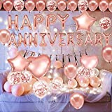 theme my party Rose Gold Anniversary Decorations Party Supplies Set (46 pc), Balloons, Banner Anniversary Party I Anniversary Decoration at Home