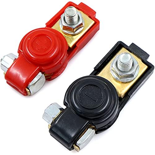 Abrazaderas batería Car Vehicle Clips Conectores Terminales positivas negativas - 4 piezas poste para barco Liberación Rápida Superior de Alambre para Coche Marino Auto Camion y Más
