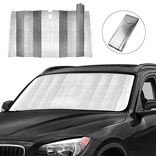 Car Windshield Sun Shade, Front Window Car Sun Shade for Windshield - Blocks UV Rays Sun Visor Protector, Foldable Sun Reflector to Keep Your Vehicle Cool, Easy to Use (Silver)