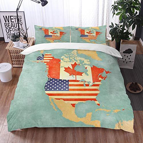 Juego de Fundas de edredón,Estados Unidos y Canadá en el Mapa del Esquema de América del Norte,Fundas Edredón 220 x 240 cmcon 1 Funda de Almohada 40x75cm