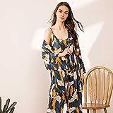 wsxcfyjh Pijamas Camisón Conjunto De Pijamas De Tres Piezas De Algodón para Mujer, Cómodo Y Suave, Traje De Casa, Batas con Pantalones, Conjunto De Pijamas, Grúa S