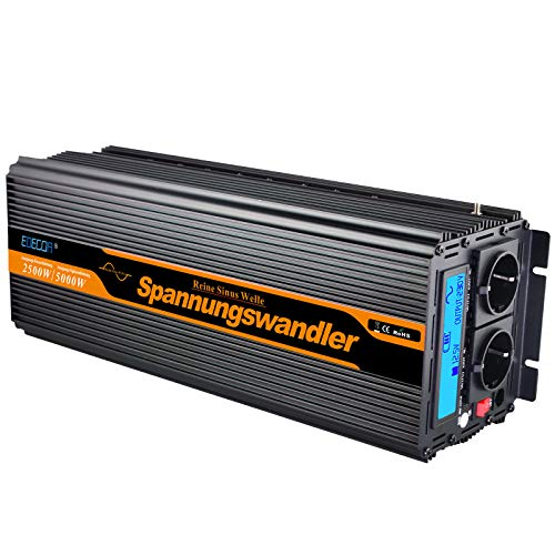 EDECOA inversor 24v 220v inversor de corriente 2500w ONDA PURA transformador 24v 220v...
