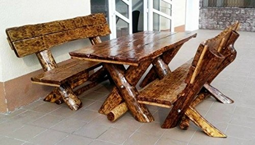 Casa Padrino Garden Furniture Set Rustic Table + 2 Garden Benches - Oak Solid Wood - Real Wood Furniture Solid