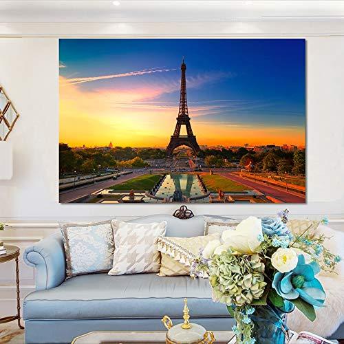 Sanzangtang Modern landschapsplakaat- en drukwandkunst zeildoekschilderij decoratief schilderij van de moderne stadelijke woonkamer zonder lijst