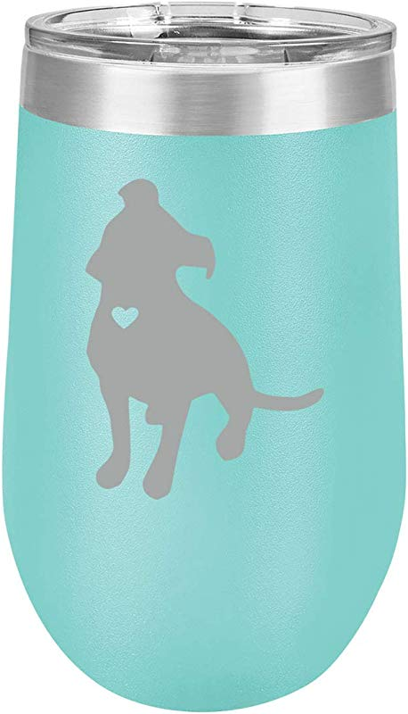 16 Oz Double Wall Vacuum Insulated Stainless Steel Stemless Wine Tumbler Glass Coffee Travel Mug With Lid Cute Pit Bull With Heart Teal