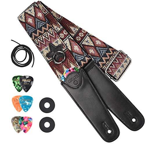 LEKATO Gitarrengurt Baumwollriemen mit langen Lederenden Gitarrengürtel mit 6 Gitarrenpicks + 2 Riemenschlössern + 1 Saite für Bass-, Elektro- und Akustikgitarren Jacquard Weave Style