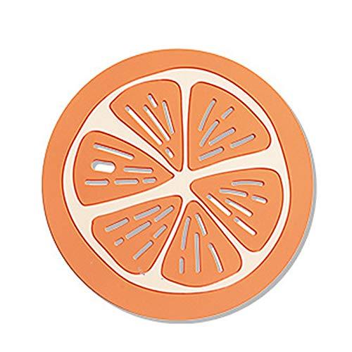 Manteles individuales y posavasos, diseño de dibujos animados, resistente al calor, silicona absorbente de agua, para el hogar – L naranja fruta