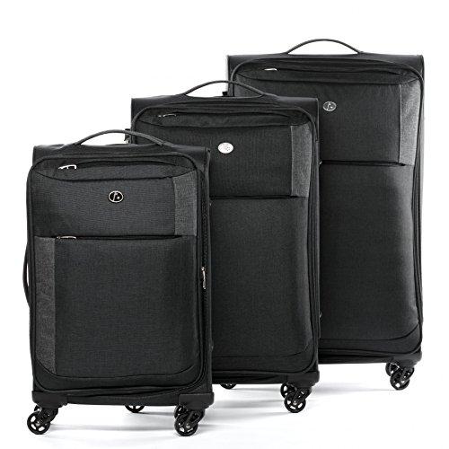FERGÉ 3-delige koffer-set Reisbagage Saint-Tropez gewatteerde zachte zijde spinner premium bagage-koffer zwart