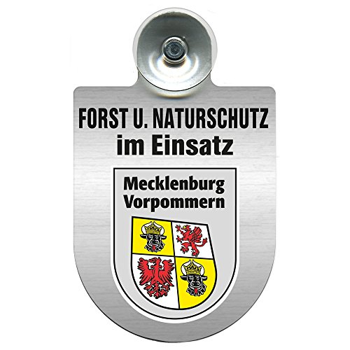 Einsatzschild mit Saugnapf - Forst u. Naturschutz im Einsatz 393813 incl. Regionenwappen nach Wahl Farbe Region Mecklenburg-Vorpommern