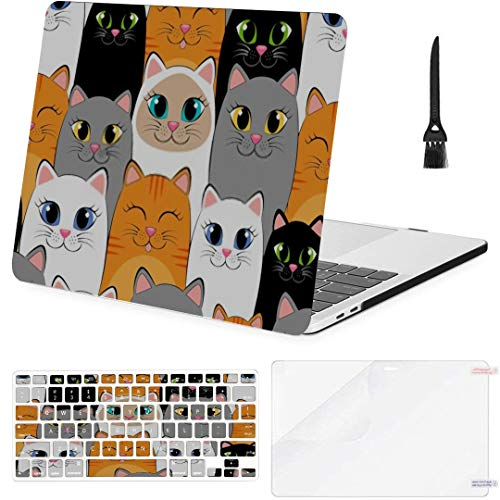MacBook Pro 13 Inch Case Seamless Pattern Cats Background Gray White MacBook Air 13 Inch Case with Keyboard Cover Screen Protector Cleaning Brush