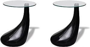 Tidyard 2 uds Mesas de Centro Mesas de Cristal Mesa de Café de Vidrio para Estar o Dormitorio Diseño de Modernidad Vidrio de Seguridad Redonda 60x55cm Negro Brillante