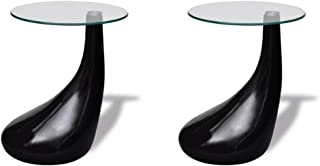 Tidyard Set of 2 Round Shape Coffee Table Clear with Glass Top and Teardrop Stand End Side Table Living Room Home Office F...