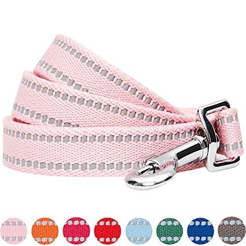 Umi. by Amazon - Pastel - Correa resistente para perros reflectante M, 150 x 2 cm, correas para perros (rosa bebé)