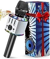 Micro Karaoké sans Fil Bluetooth, Microphone Karaoke Avec LED, Portable Micro Sans Fil Haut-Parleur, Enregistreur,...
