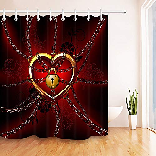 Kedjor Låst kärlek hjärta vattentätt tyg bad dusch gardinkrokar