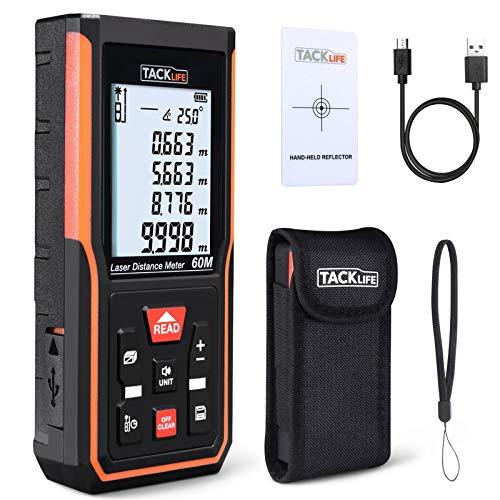 Tacklife - Telémetro láser de 60 m, carga USB, precisión, ± 2 mm, sensor de ángulo electrónico, 99 almacenamientos, m/in/ft/ft+in, sonido ajustable, calculadora longitud, superficie, volumen