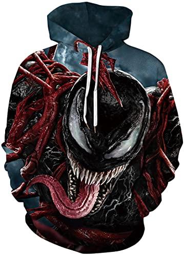 EMLAI Hombre Sudadera con Capucha Venom Estampado en 3D Hoodie Halloween Navidad Invierno Colorido con Bolsa (M, Venom 2)