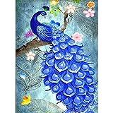 Soreatr Pintura 5D Diamante para Adultos y Niños Flores y pavos reales Taladro completo Bordado Redondo Kits de Punto de cruz Artesanía Decoración de Pared para el Hogar Gift-20X30CM
