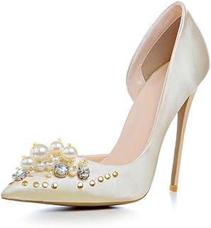 Talons hauts,Escarpins Femme,12CM chaussures sexy bout pointu Asakuchi talon aiguille perle Cendrillon,Wedding Party Club ...