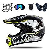 MRDEAR Hai Motocross Helm mit Brille (5 Stücke) Motorrad Crosshelm Kinder Schwarz Cross Fullface-Helm Motorradhelm Schutzhelm Set für DH Enduro Downhill MTB Quad BMX ATV Motorräder (L)