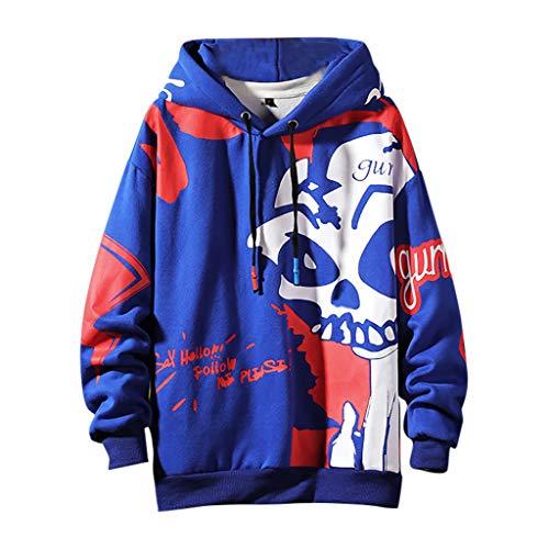 Xmiral Herren Pullover mit Kapuze Grimasse Drucken Hippie Kapuzenpulli Sweatshirts Herbst Winter Dick Fleece innen Warm Jacke(Blau,3XL)