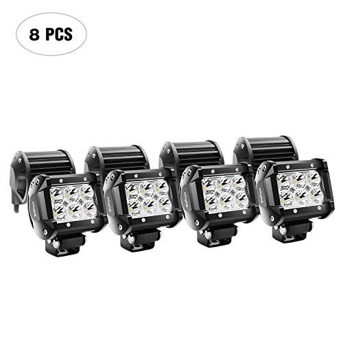 Nilight LED Light Bar 8PCS 18W 1260lm Spot led pods Driving Fog Light Off Road Lights Bar Jeep Lamp,2…