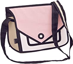 Xugq66 3D Style 2D Drawing Cartoon Handbag Shoulder Canvas Messenger Bag Bow Handbags