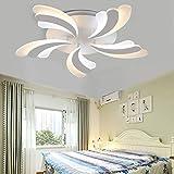 QLIGHA Lámpara de Techo LED con Control Remoto Dimmable pétalo acrílico postmodern Sala de Estar Cocina araña Simple Art Dormitorio Circular luz,White,5heads_40w