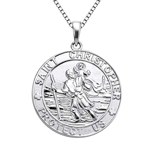 YL Jewelry St Christopher Medal Pendant Patron Saint Guardian Protect Us Necklace 925 Sterling Silver Religious Engraved Medallion, 18'