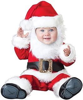 6P6, Disfraces de Navidad para bebé y niña, 4 piezas para bebé y bebé, Navidad, Papá Noel, cosplay, pantalones + gorro + traje de calcetín.