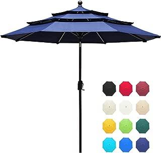 EliteShade Sunbrella 9Ft 3 Tiers Market Umbrella Patio Outdoor Table Umbrella with Ventilation and 5 Years Non-Fading Guarantee,Navy Blue